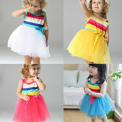 Girls Dress Rainbow Stripe Lace Tulle TuTu Party Birthday Cotton Size 1-7 years