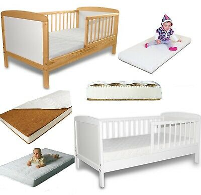 JUNIOR TODDLER BED SELECTION 120x60 SIZE WHITE PINE AND MATTRESSES BEST PRICE