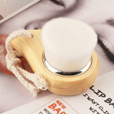 Soft Mild Fiber Face Clean Deep Cleansing Wash Pore Facial Care Brush Wood BY