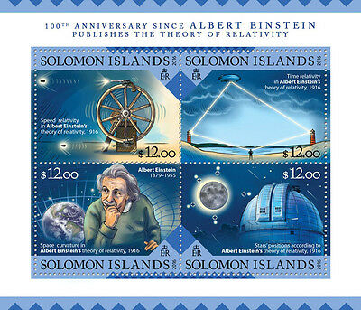 Solomon Isl 2016 MNH Albert Einstein Theory of Relativity 4v M/S Science Stamps