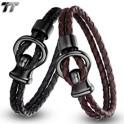 TTstyle Black/Brown Leather Black Stainless Steel Clasp Bracelet Wristband NEW