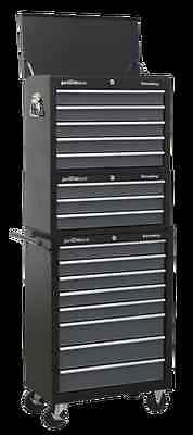 Sealey Tool Chest Combination 16 Drawer with Ball Bearing Runners - Black/Grey