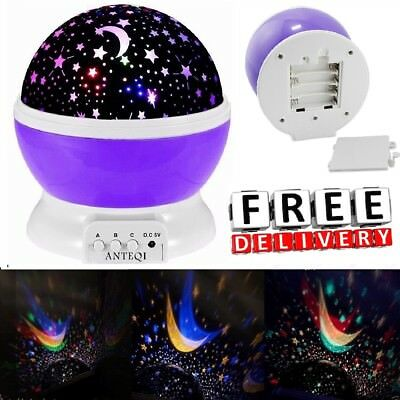 Constellation Night Light Baby Kids Room Moon Star Sky Projector Rotating Cosmos
