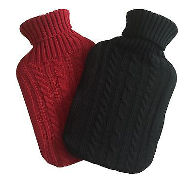 Knitted Large Hot Water Bottle With Beautiful Cover - 2 Different Colours