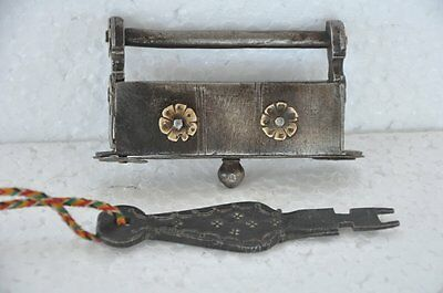 1930's Old Iron Rectangular Brass Fitted Unique Strip System Padlock