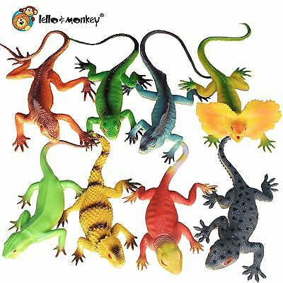 "Plastic Lizard Reptile Toy Animal 8"" Figures set of 8 bagged buy direct on ebay"