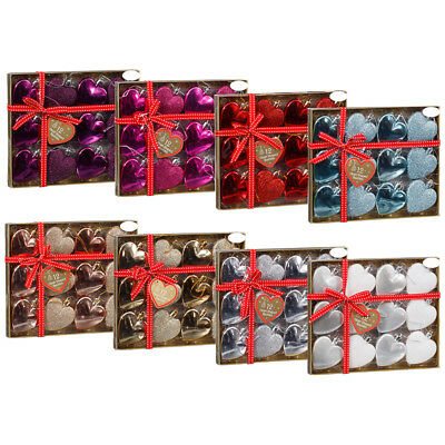 New Christmas Xmas Tree Decoration Heart Shaped Baubles Pack of 12