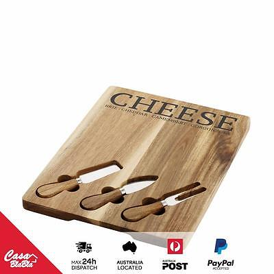Wooden Cheese Serving Board with Knives - Display / presentation Food -