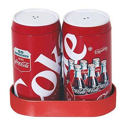 Coca-Cola Salt and Pepper Shakers with Caddy New