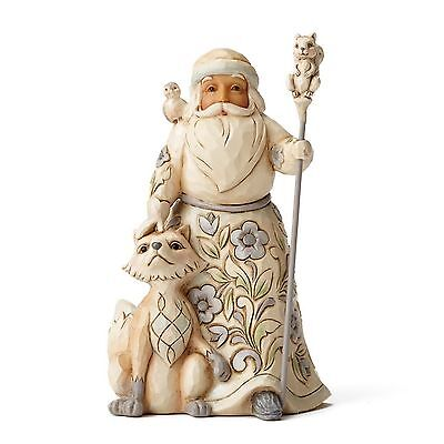 "ENESCO CHRISTMAS DEKORATION ""WHITE WOODLAND SANTA"" Jim Shore Figur 4053692 NEU !"