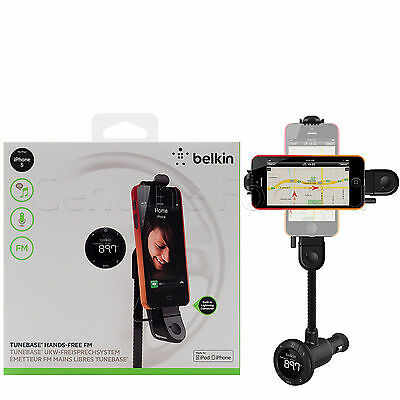 New BELKIN TuneBase Hands-Free Aux FM LCD Car Charger Holder For iPhone 5/5S/SE