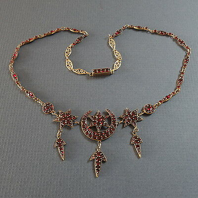 rar Antikes Granat Collier Böhmen Bohemia garnet necklace 1870-1890 [y193]