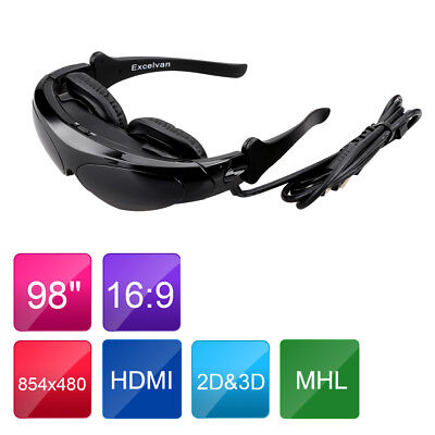 """LCD K60 Bluetooth Wifi Touch Virtual Screen Video Glasses 80"""" Head Mount Display"""