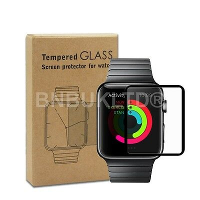 3 X Border Edge Tempered Glass Screen Protector for Apple Watch Series 2 42mm