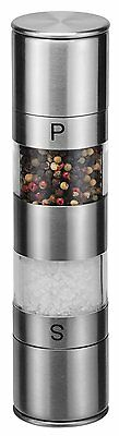 2 in 1 Double-Ended Stainless Steel Salt and Pepper Mill with Ceramic Grinder