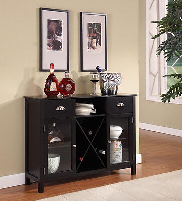 Black Finish Wood Wine Cabinet Breakfront Buffet Storage Console Table ~New~