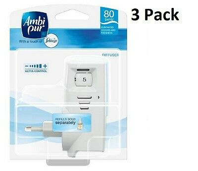 3 X Ambi Pur Febreze Electric Plug In Air Freshner Diffuser Machine/Unit