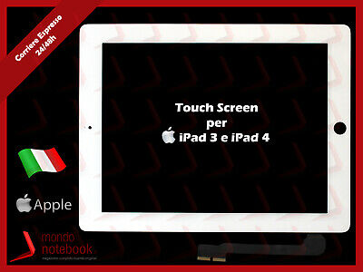 Vetro TouchScreen Compatibile per APPLE iPad 3 iPad 4 BIANCO