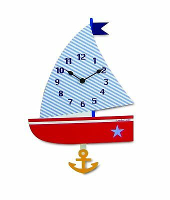 35cm Tall Childrens Bedroom Sailing Boat Wall Clock With Pendulum