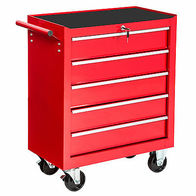 Tool cabinet cart workshop wheel trolley tools tray ball bearing slides 5 drawer