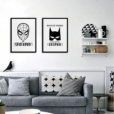 Cartoon Batman Superhero Minimalist Art Canvas Poster Iron Man Wall Decor  FA076