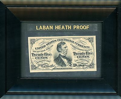 Twenty Five Cent Note Third Issue Fractional Currency Laban Heath Proof 1870's!