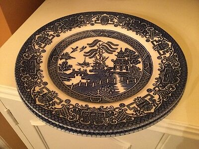 EIT English Ironstone Tableware Blue Old Willow Pattern Dinner Plates 22.5cm VGC