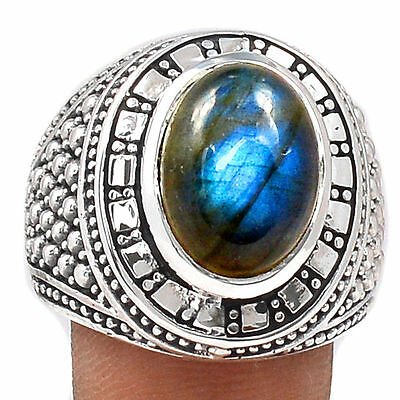 13g Labradorite 925 Sterling Silver Men's Ring Jewellery Size UK R - US 9