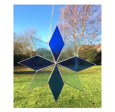 HANDMADE Stained Glass Large Blue Star Sun catcher, Gift, Decoration