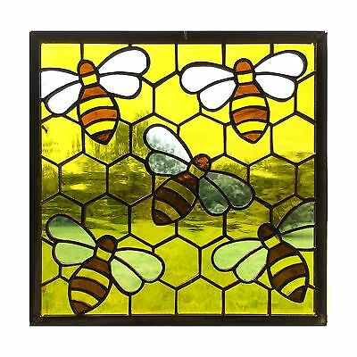 Handmade Stained Glass Window Panel, Honey Bee On Comb, Yellow, Brown, Glass