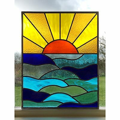 Handmade Stained Glass Window Door Panel Sun Set Sea Commissioned Windows