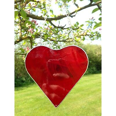 Hand Crafted Stained Glass Red Love Heart Suncatcher Gift Decoration
