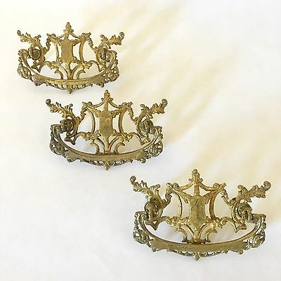 Drawer Pulls Hollywood Regency Ornate Brass Lot 3 in Centers Hollywood Regency