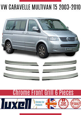 VW CARAVELLE MULTIVAN T5 2003-2010 Chrome Front Grill 6Pcs Stainless Steel