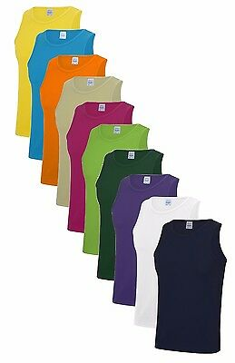 Mens Plain Polyester Breathable Wicking Athletic Sports Tank Top Vest Singlet