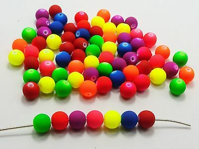"""200 Matte Fluorescent Neon Color Acrylic Round Beads 8mm(0.32"""") Pick Your Color"""