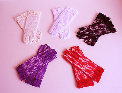 High Quality Lace Wrist Gloves w Ruffle - Black, White, Ivory, More Color