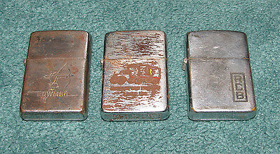Lot of 3 Vintage 1950's Zippo Lighters 2 Advertising