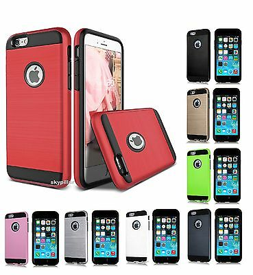 iPhone 5 5S SE 6 6S 7 Plus touch Hybrid Brushed Vivid Hard Armor Case Cover