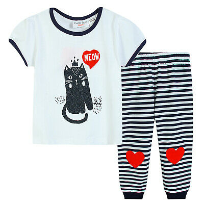 Girls PJs Size 0-2 Summer 2pc Cotton Short Sleeve Pyjamas White Cat Meow