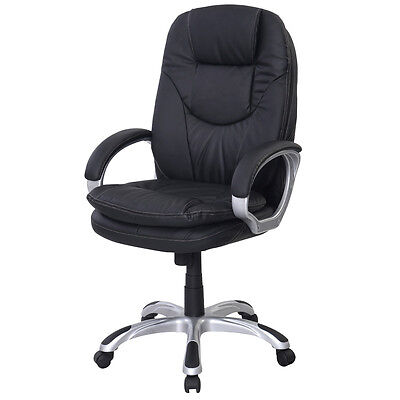 Black PU Leather High Back Office Chair Executive Ergonomic Computer Desk Task