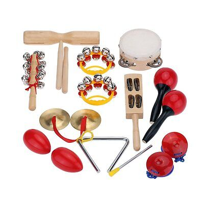 Percussion Set Kids Children Toddlers Music Instruments Toys Band with Case L3