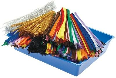 1000 Chenille Stems Sticks Pipe Cleaners 30cm Bulk Kids Craft Assorted Colours
