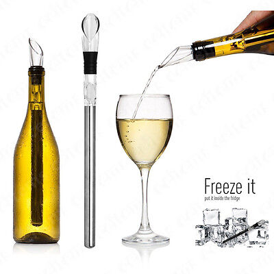 2in 1 Stainless Steel Red Wine Chiller Rod Stick Cooler Pouring Spout Aerator