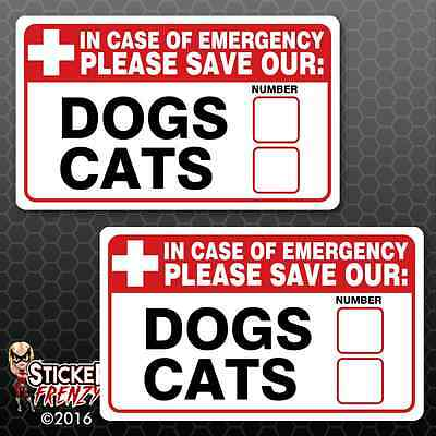 Save Our Pets 2 Pack Stickers FS054 Fire Rescue Emergency Vinyl Window Decal Dog