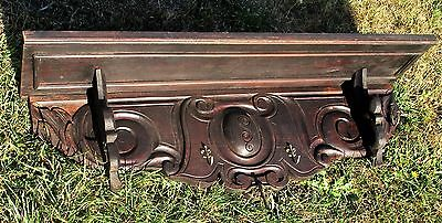 French Dark Wooden Gorgeous Antique Hand Carved Wood Coat Hat Rack