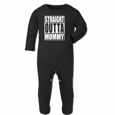 Straight Outta Mummy Funny Baby Grows Clothes Hip Hop Music Kids Baby Rompersuit