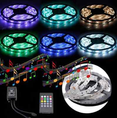 5M SMD 5050 RGB Waterproof Music Sound Sensor 300 LEDs Strip Light DC12V 20 Key