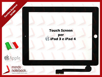 Vetro TouchScreen Compatibile per APPLE iPad 3 iPad 4 Nero