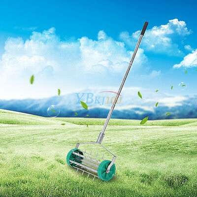 Heavy Duty Rolling Grass Lawn Garden Aerator Steel Spike Roller Aluminum Handle